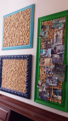 Volunteer interior designers made these cork boards for us! They repainted picture frames from the store and used old wine corks of different length to create a fun and funky texture. www.habitatgsf.org/restore