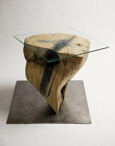 echtholzmöbel glas holzklotz