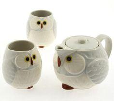 japanese-Light-Grey-Happy-034-FUKURO-034-Owl-Tea-Set-New-in-Box-Made-in-Japan