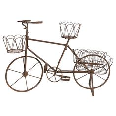 A whimsical touch to your flower patch or vegetable garden, this iron bicycle-inspired planter showcases an open design and rust finish for aged appeal....