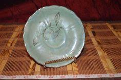 """Vintage Nasco Japan Green Saucer with Gold Trim Flower & Leaf 5 1/2"""""""