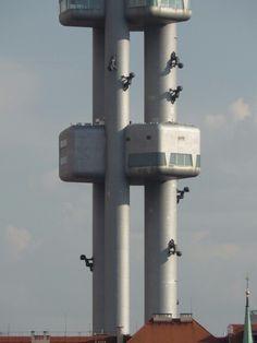 Zizkov Tower with David Cerny's 10 giant babies Prague