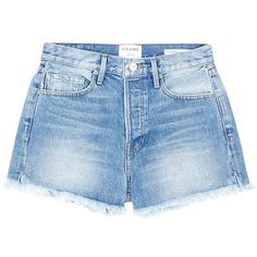 Frame Denim 'Le Original' frayed denim shorts ($235) ❤ liked on Polyvore featuring shorts, blue, blue cotton shorts, jean shorts, cuffed shorts, cotton shorts and denim shorts