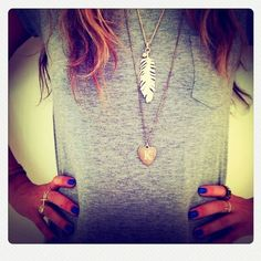 I really adore that gray shirt and the necklaces <3