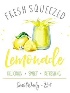 Lemonade Stand Printables - Clean and Scentsible Fresh squeezed lemonade free summer printable. Cute for any summer decor or a fun lemonade bar or beverage cart. Lemonade Sign, Lemonade Stands, Lemon Crafts, Homemade Lemonade Recipes, Fresh Squeezed Lemonade, Lemon Kitchen, Brunch, Summer Parties, Beverage Cart