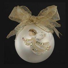 100MM HANDPAINTED GLASS BALL W/LITTLE ANGEL DESIGN W/GEMSTONE & BOW CHRISTMAS TREE ORNAMENT W/LOOP.