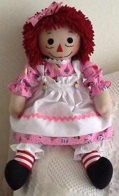Handmade Raggedy Ann doll, pink cupcake print