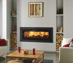 Studio Steel XS Inset Wood Burning Fires – Stovax built-in fires - Wood Burning Fireplace Inserts Inset Fireplace, Wood Burner Fireplace, Wood Burning Fireplace Inserts, Freestanding Fireplace, Modern Fireplace, Fireplace Surrounds, Wood Burning Insert, Wood Burning Fires, Inset Log Burners