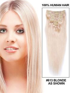 28 INCH HUMAN HAIR CLIP IN EXTENSIONS BLONDE STRAIGHT BRAZILIAN HAIR 7 PIECES FULL HEAD SET