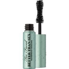 Too Faced Better Than Sex Waterproof Mascara Travel Size 4.8g (€9,78) ❤ liked on Polyvore featuring beauty products, makeup, eye makeup, mascara, too faced cosmetics and glossy eye makeup
