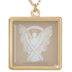 White Awareness Ribbon Angel Jewelry Necklace - The white awareness ribbon color means support for Adoption, Blindness, Bone cancer, Hope and Support, Lung Cancer, Lung Disease, Anti-Stalking, Anti-War, Holocaust Remembrance, Child Exploitation, Child Sexual Abuse/Assault, Osteoporosis, Postpartum Depression, Retinoblastoma, Victims/Survivors of Terrorism, Scoliosis, and Teen Pregnancy Awareness.