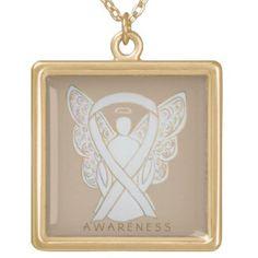 White Awareness Ribbon Angel Jewelry Necklace