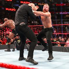 Despite some hesitation, Dean Ambrose ultimately sides with Roman Reigns and Seth Rollins to reform The Shield. Dean Ambrose, Seth Rollins, The Shield Reunite, Wrestlemania 29, Monday Raw, Wwe Roman Reigns, Wwe Photos, Wrestling, Eyes