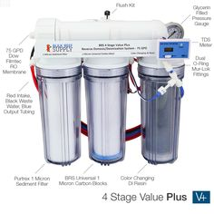 BRS 4 Stage Value Plus RO/DI System - 75GPD - Bulk Reef Supply