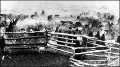 Photo titled: Wounded Knee 4,000 Tepees. - This is the Sioux camp at Pine Ridge Reservation South Dakota possibly taken before the Wounded Knee Massacre.