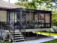 Solarium and veranda - Somac Group Screened Porch Designs, Screened In Deck, Backyard Patio Designs, Patio Ideas, Solarium Room, Mobile Home Porch, Halls, Casa Patio, Patio Enclosures