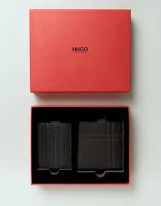HUGO by Hugo Boss Leather Wallet Gift Set Black at ASOS. Designer Wallets, Hugo Boss, Leather Wallet, Fashion Online, Asos, Gifts, Black, Presents, Black People