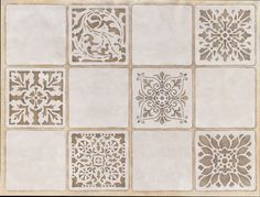 Gorgeous tile stencils from Royal Design Studio - Inspiration to paint the blah terra-cotta tile our kitchen table came with.