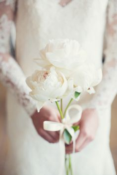Peony trio wedding bouquet | Event Design & Florals: Rock Paper Scisscors Events - rpscissors.com | Photography: Peaches And Mint - www.peachesandmint.com Read More: http://www.stylemepretty.com/2014/05/12/emerald-mint-peach-wedding-inspiration/