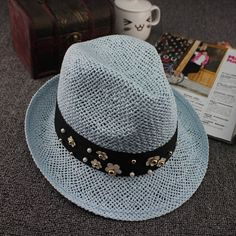 Nice Summer Style Straw Fedora Trilby Hat w/Pearl/Metal Floral Accents 5 Colors