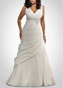 Glamorous Satin Mermaid V Neckline Plus Size Wedding Dress With Beads & Lace Appliques