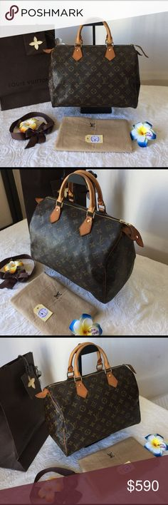 "👜Pre-Owned Authentic Louis Vuitton Speedy 30 👜🌺 Pre-Owned Authentic LV Speedy 30 Monogram Hand Bag in Great Conditions Inside&Out is Clean as show No have any stains/tear/rip/peeling/Ink mark, have some stains,crack on handles/pullI zipper I took a pictures with nature light for show conditions of bag Pls,refer all the pics. Date Code: VI0952 Made in France Size: L11.6"" xH8.26""xD7""(inch)/ Handle drop: 11.02"" 👉Come with dust bag Come from smoke&pets free home🤝Welcome reasonable an offers…"