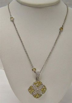 925 STERLING SILVER PENDANT ENHANCER NECKLACE CHAIN YELLOW & WHITE BERYL CLUSTER #Pendant