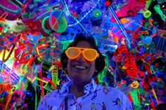 """""""Forget the this fall Portland is going back to those chaotic Day-Glo That's the scene at the Portland Art Museum, at least, where Kenny Scharf's """"Cosmic Cavern"""" is illuminating people with loads of blacklight neon paint. Kenny Scharf, Panoramic Pictures, Glow Paint, Neon Painting, A Hundred Years, Cosmic, Art Museum, Portland, Pop Culture"""