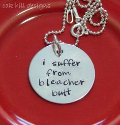 hand stamped necklace-sterling silver custom personalized jewelry-bleacher butt-school spirit Like this.