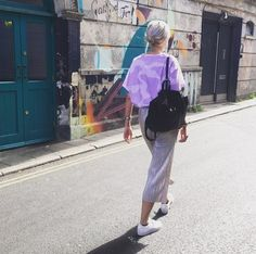 Street Style | http://www.bundyandwebster.com/collections/new-in/products/lilac-camo-printed-t-shirt-in-oversize-fit