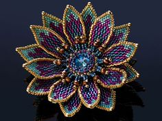 This Pin was discovered by Dac Seed Bead Flowers, French Beaded Flowers, Seed Bead Jewelry, Bead Jewellery, Beadwork Designs, Beaded Brooch, Beaded Jewelry Patterns, Beads And Wire, Fuse Beads