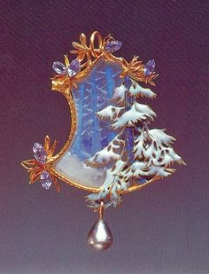 Pendant Winter Landscape,c.1899-1900 by René Lalique  Gold, opaque enamel on gold, carved glass and pearl The Lalique Museum, Hakone, Japan