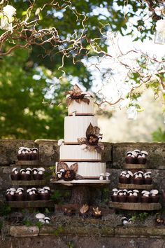 Woodland Themed Wedding Cake & Cupcake Towers
