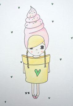 ice cream girl | ijs meisje | meisjeskamer | girls room www.kinderkamervintage.nl Kawaii Drawings, Love Drawings, Easy Drawings, Doodle People, Kids Room Art, Cute Art, Painting Inspiration, Doodles, Illustration