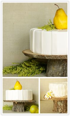 this reminds me of our cake! i love the tree stump stand