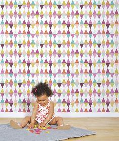 Papier peint géométrique losanges fille deco murale Lilipinso