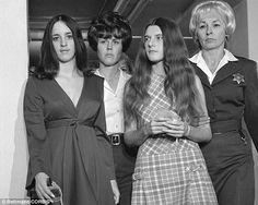 On trial: Family members Susan Denise Atkins, front left, and Patricia Krenwinkel, front right, in March 1970.