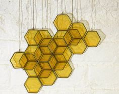Stained Glass Honeycomb Drops set of 14 by BespokeGlassTile