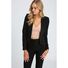 Ally Fashion Textured Jersey Fitted Blazer ($27) ❤ liked on Polyvore featuring outerwear, jackets, blazers, fitted blazer jacket, black and white jacket, black and white blazers, textured jacket and jersey blazer