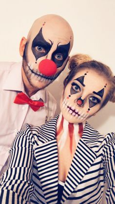 halloween costumes clown Makeup for couples Halloween clown skull costume Halloween Clown, Boy Halloween Makeup, Cute Couple Halloween Costumes, Halloween Inspo, Couple Costumes, Meme Costume, Costume Clown, Costume Makeup, Crane
