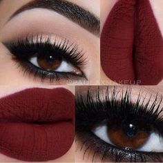 Absolutely Stunning Make-Up Looks To Try This Autumn black smokey arabic winged eyeliner, matte red lips Cute Makeup, Pretty Makeup, Dark Makeup Looks, Makeup With Dark Lips, Skin Makeup, Beauty Makeup, Makeup Lipstick, Beauty Nails, Cherry Red Lipstick