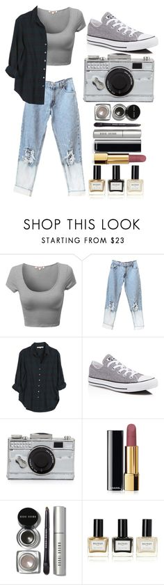 """""""Street style"""" by sindimaloku ❤ liked on Polyvore featuring Xirena, Converse, Kate Spade, Chanel, Bobbi Brown Cosmetics and Balmain"""