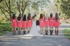Cowboy Boots & Coral Bridesmaid Dresses
