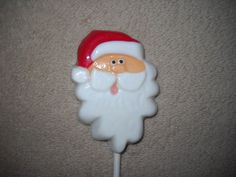 1 Chocolate Christmas santa head with long beard favors favor Lollipops Lollipop #castlerockchocolatessapphirechocolates