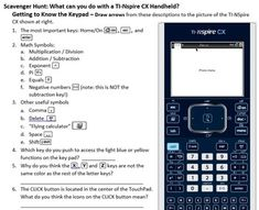 This scavenger hunt is a great introduction to the TI-NSpire CX handheld. I've used it with students (7th and 8th graders) and in teacher workshops.…