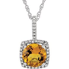 """Sterling Silver 7mm Citrine & .015 CTW Diamond 18"""" Necklace"""