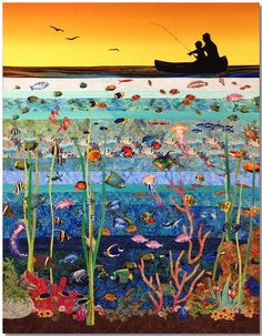 "Sea of Imagination, 46"" x 59"", by Kate Themel. Art quilt. Commissioned by Yale New Haven Hospital Pediatric Speciality Center 2014."