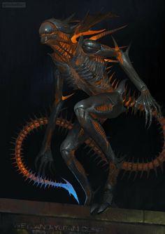 Crazy-One — megadarkthings: Firemorph by Oleg Bulakh Monster Concept Art, Alien Concept Art, Creature Concept Art, Fantasy Monster, Creature Design, Science Fiction, Alien Creatures, Fantasy Creatures, Dragon Rey