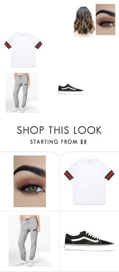 A fashion look from May 2017 featuring Gucci, nike activewear pants and laced sneakers. Browse and shop related looks. Gucci Nike, Teenage Outfits, Lazy Days, Outfit Sets, Cool Outfits, High School, Girly, Vans, Drawing
