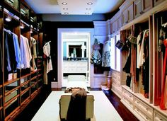Need more closet space? How about this spectacular his and hers walk in closet? Let us help you find the home of your dreams with the closet of your dreams! Walk In Robe, Walk In Wardrobe, Wardrobe Doors, Walk In Closet Design, Closet Designs, Big Closets, Dream Closets, Huge Closet, Girl Closet